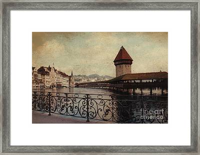 The Chapel Bridge In Lucerne Switzerland Framed Print by Susanne Van Hulst