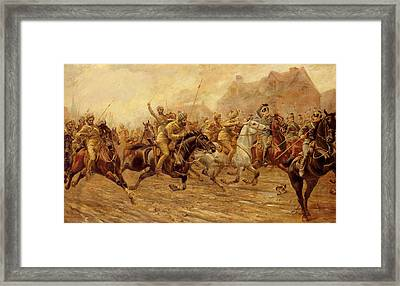 The Charge Of The Bengal Lancers At Neuve Chapelle Framed Print