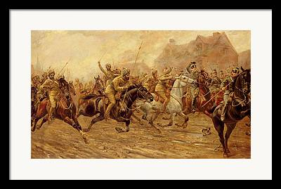 The Charge Of The Bengal Lancers At Neuve Chapelle Framed Prints