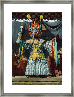 The Chief Dancer Impersonates King Framed Print by Dr Joseph F Rock