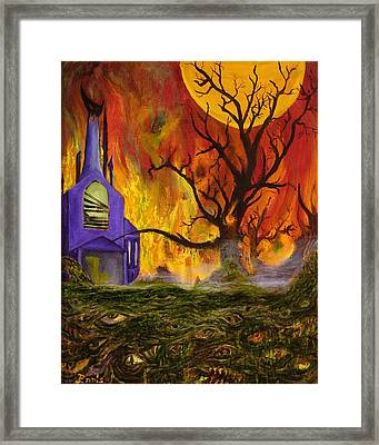 Framed Print featuring the painting The Church Of Ruin by Christophe Ennis