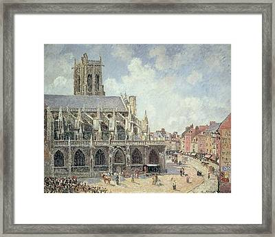 The Church Of Saint Jacques In Dieppe Framed Print by Camille Pissarro