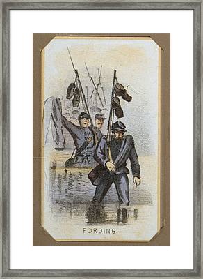 The Civil War, Life In Camp, Fording Framed Print by Everett