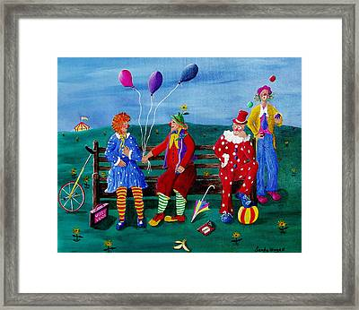 The Clowns Framed Print by Sandy Wager