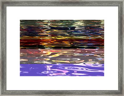 The Colorful Riverwalk Is Reflected Framed Print