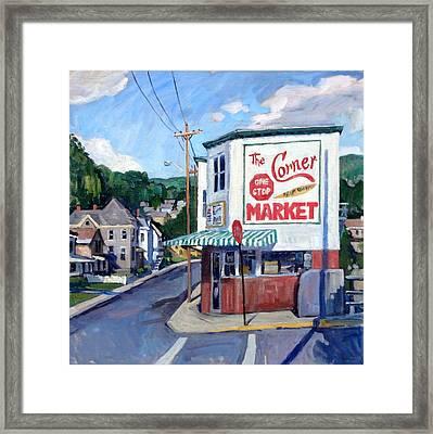 The Corner Market Framed Print
