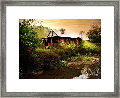 The Cottage By The Creek Framed Print by Lj Lambert
