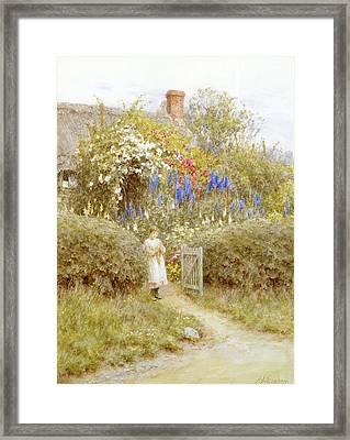 The Cottage Gate Framed Print by Helen Allingham