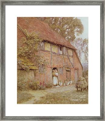 The Cottage With Beehives Framed Print by Helen Allingham