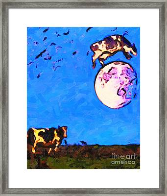 The Cow Jumped Over The Moon . Painterly Framed Print