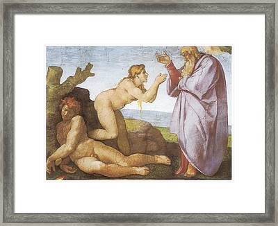 The Creation Of Eve Framed Print by Michelangelo Buonarroti