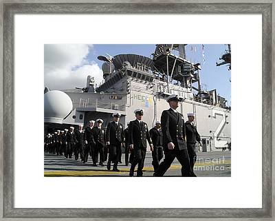 The Crew Of Uss Essex Marches Framed Print by Stocktrek Images
