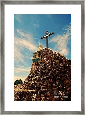 The Cross II In The Grotto In Iowa Framed Print by Susanne Van Hulst