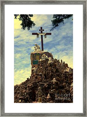 The Cross IIi In The Grotto In Iowa Framed Print by Susanne Van Hulst