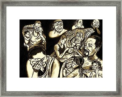 The Crying Faces Of New Orleans Framed Print by Master J Harrattan