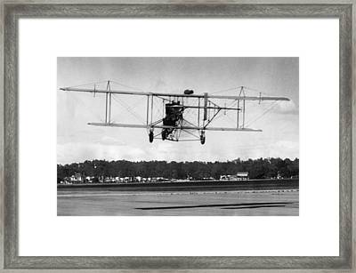 The Curtiss Pusher Type Biplane Shown Framed Print by Everett