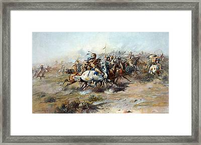 The Custer Fight, The Battle Framed Print by Everett