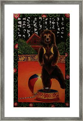 The Dancing Bear Is Far From Home Framed Print by Anzhelika Lychik