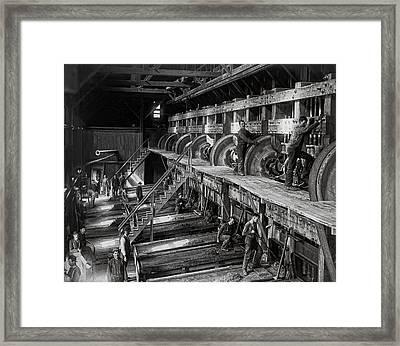 The Deadwood Terra Gold Ore Stamp Mill C. 1888 Framed Print by Daniel Hagerman