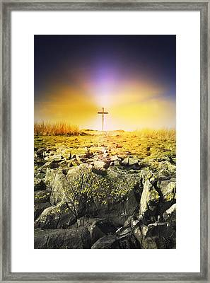 The Death Spot Of St. Cuthbert On Holy Framed Print by John Short