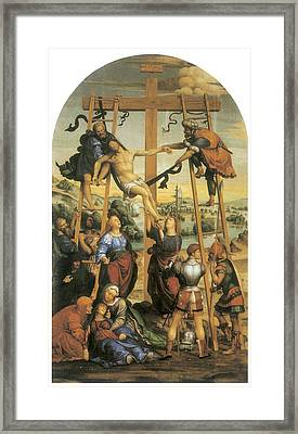 The Descent From The Cross Framed Print by Sodoma