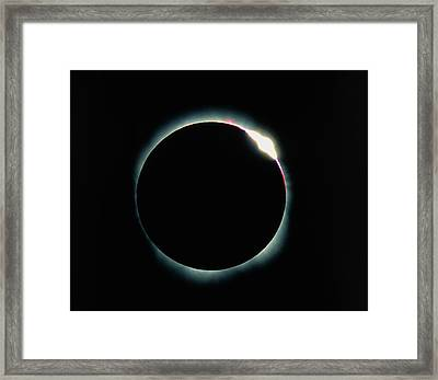 The Diamond Ring Effect During A Solar Eclipse Framed Print by David Nunuk