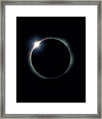 The Diamond Ring Effect During Total Sola Framed Print by David Nunuk