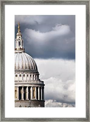 The Dome Of St Paul's Cathedral Against Stormy Sky Framed Print by Sarah Franklin www.eyeshoot.co.uk