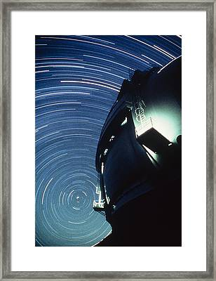 The Dome Of The Keck Telescope And Star Trails Framed Print by Dr Fred Espenak