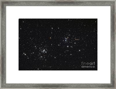 The Double Cluster In The Constellation Framed Print by Rolf Geissinger