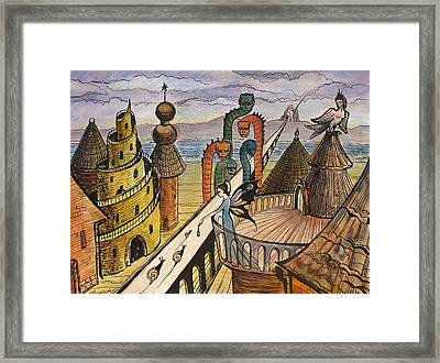 Framed Print featuring the painting The Dragon Bridge by Valentina Plishchina