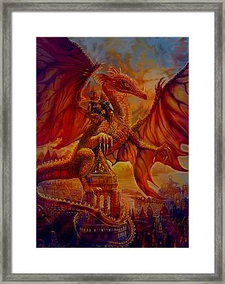 Framed Print featuring the painting The Dragon Riders by Steve Roberts