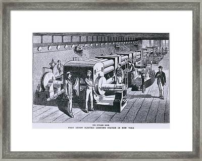 The Dynamo Room In The First Edison Framed Print by Everett