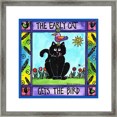 The Early Cat Gets The Bird Framed Print by Pamela  Corwin