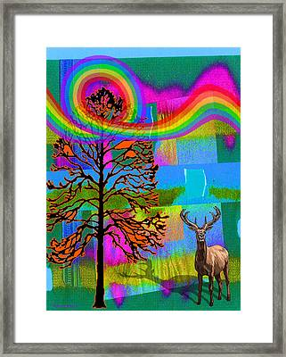 The Earth Rejoices Series Deer And Basswood Framed Print by Robin Jensen