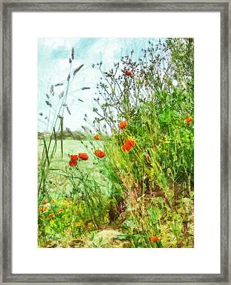 Framed Print featuring the digital art The Edge Of The Field by Steve Taylor