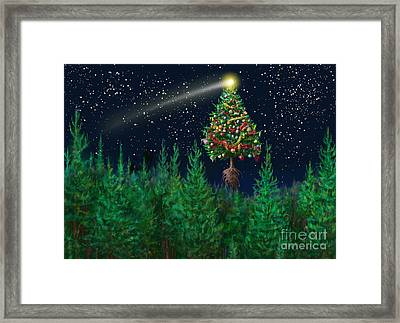 The Egregious Christmas Tree Classic Landscape Framed Print by Russell Kightley
