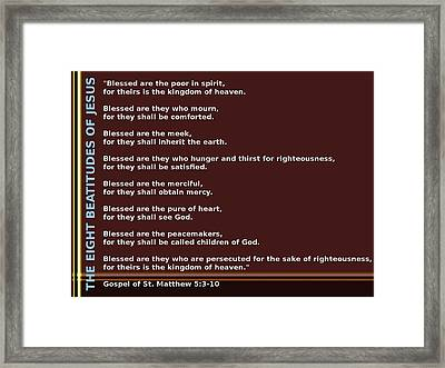 The Eight Beatitudes Of Jesus Framed Print by Ricky Jarnagin