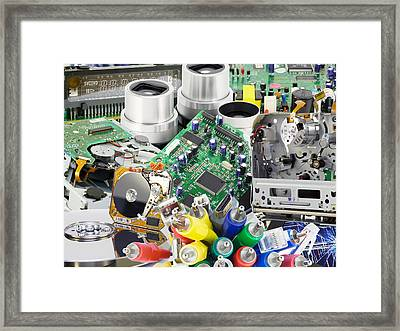 The Electronic Boards Collage Background Framed Print