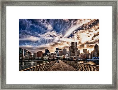 Framed Print featuring the photograph The Embarcadero On The Waterfront At Sunset by John Maffei