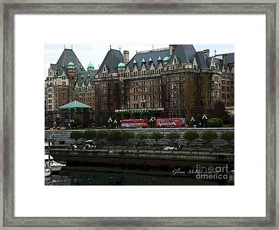 Framed Print featuring the digital art The Empress Hotel Victoria British Columbia Canada by Glenna McRae