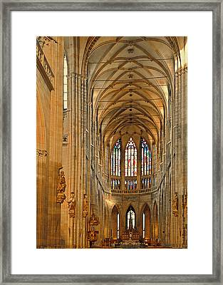 The Enormous Interior Of St. Vitus Cathedral Prague Framed Print