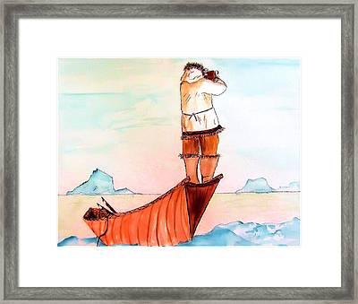 The Eskimo Hunter Framed Print by Alethea McKee