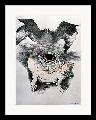 An Eagle Flying Over A Surreal Space Which Includes A Magical Lizard And Framed Prints