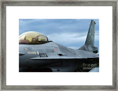 The F-16 Aircraft Of The Belgian Army Framed Print by Luc De Jaeger