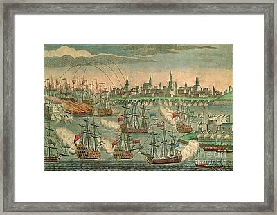 The Fall Of Louisbourg 1758 Framed Print by Photo Researchers