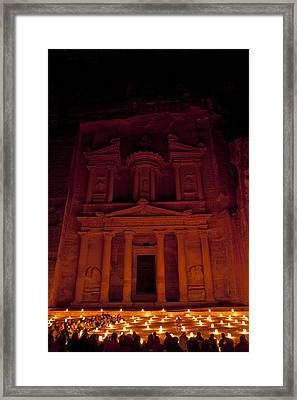 The Famous Treasury Lit Up At Night Framed Print by Taylor S. Kennedy