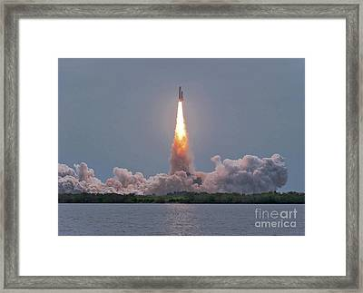 The Final Launch Of Space Shuttle Framed Print by John Davis