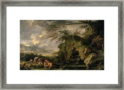 The Finding Of Moses Framed Print by Salvator Rosa