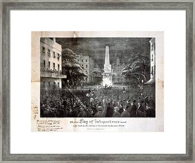 The First Flag Of Independence Raised Framed Print by Everett